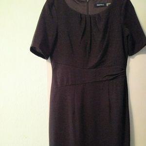 6P Ellen Tracy Brown Stretch Lined Sheath Dress